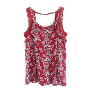 Maurice's Floral Print Tank Top Red Size XS